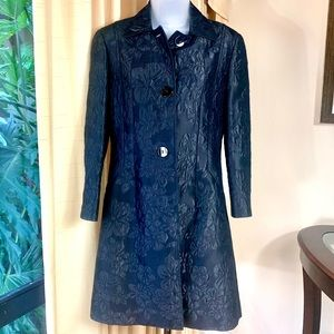 CARLISlLE Duster Coat Silk Embossed Floral Black